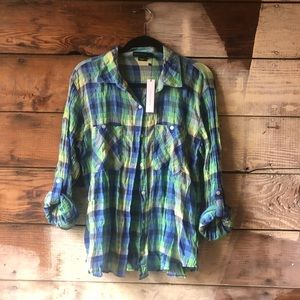 Sanctuary Boyfriend Shirt Plaid Green and Blue